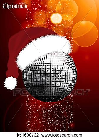 Christmas Disco Ball.Christmas Festive Glowing Background With Disco Ball And