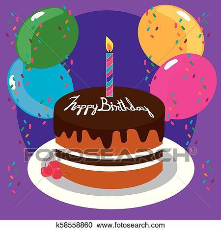 Tremendous Happy Birthday Cake Clipart K58558860 Fotosearch Funny Birthday Cards Online Elaedamsfinfo