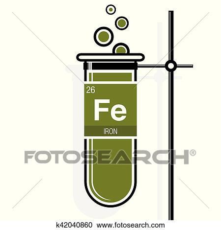 Clipart hierro smbolo en etiqueta en un verde probeta con clipart hierro smbolo en etiqueta en un verde probeta con holder elemento nmero 26 de el tabla peridica de el elementos qumica urtaz Images