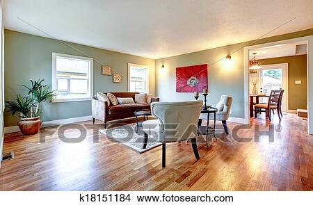Rinfrescante, aqua, soggiorno, con, parete rossa, immagine, e, palma, vaso  Immagine