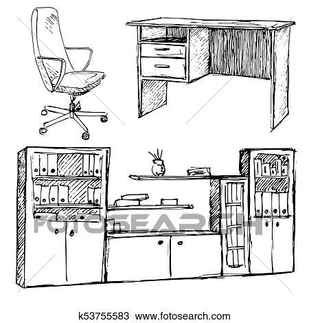 Satz Von Buro Furniture Stuhl Tisch Garderobe Freigestellt Weiss Hintergrund Vektor Abbildung In Skizze Style Clipart