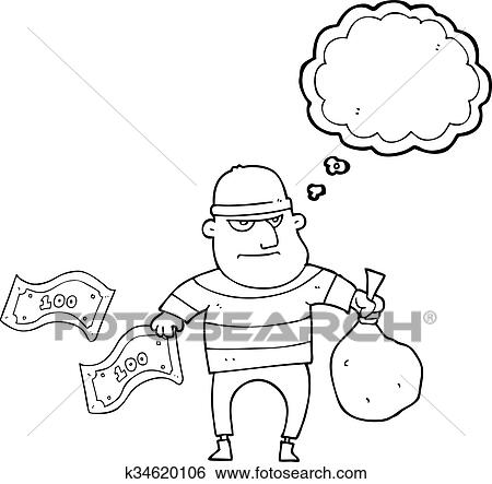 Clip Art Of Thought Bubble Cartoon Bank Robber K34620106