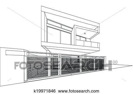 clip art of 3d render of building wireframe k19971846 search