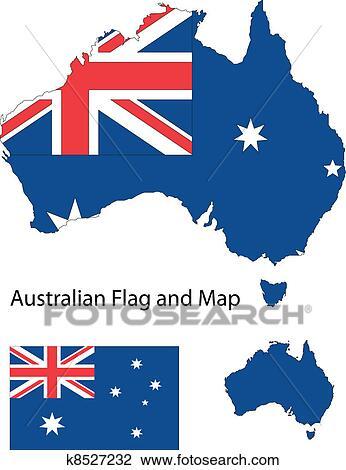 Carte Australie Drapeau.Australien Carte Et Drapeau Clipart