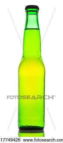 Archivio Di Immagini Birra Verde Bottiglia Con Sfondo Bianco