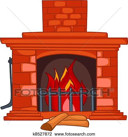 clipart of cartoon home fireplace k8527872 search clip art rh fotosearch com clip art fireplace flames fireplace clipart black and white