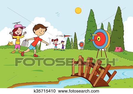 Clipart Of Children Enjoying Summer Camp Activities K35715410