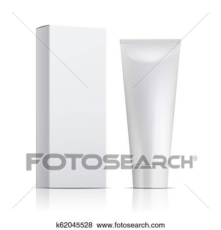 Cream Tube And Packaging Ointment Or Toothpaste Box Mockup 3d White Cosmetic Gel Vector Template Clip Art K62045528 Fotosearch
