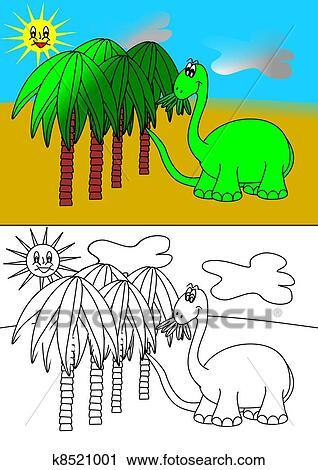 Dinosaur - coloring book Clip Art