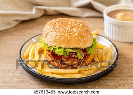 Stock Image Of Fried Chicken Burger K57613455 Search Stock Photos