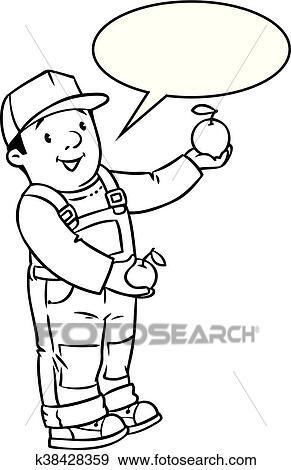 Clip Art - funy, granjero, o, jardinero, con, apples., libro ...
