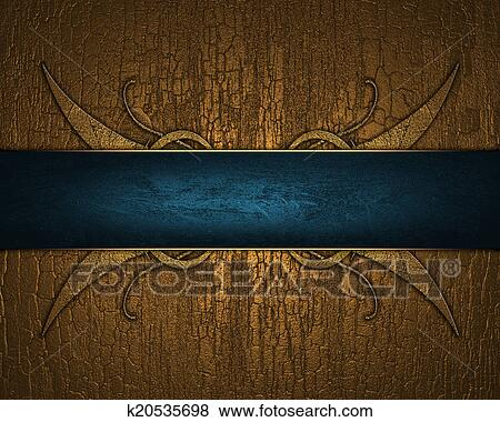 Stock Illustration of Gilded wood background with blue ribbon with ...