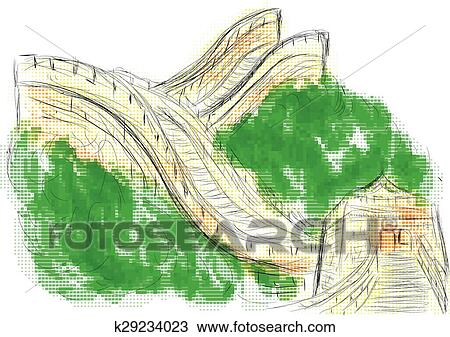 Great Wall Of China Map View.Clipart Of Great Wall Of China K29234023 Search Clip Art