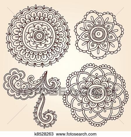 Clipart Of Henna Flower Mandala Vector Designs K8528263 Search