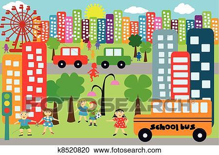 Clipart scarabocchiare citt per bambini k8520820 for Disegnare la mia planimetria