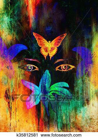 Mujer Ojos Con Flor Y Mariposa Lápiz Del Color Dibujo Ojo