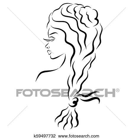 Mulher Bonita Com Longo Cabelo Ondulado Plaited Em Pigtail