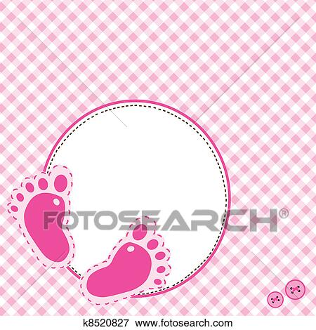 Clip Art - Pink background with baby footsteps. Fotosearch - Search Clipart, Illustration Posters