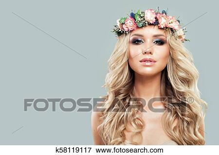 Portrait Of Nice Model Girl With Flowers Fashion Makeup And Blonde Hair On Banner Background Stock Photo K58119117 Fotosearch