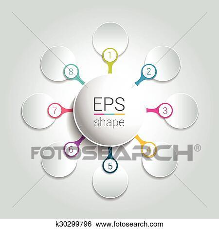 clip art of round infographic 8 steps net flow chart diagram graph