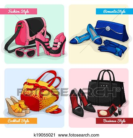 Clipart Of Set Of Women Bags Shoes And Accessories K19055021