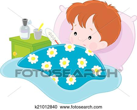 Clipart of sick boy k21012840 search clip art illustration murals ill boy with a thermometer lying in his bed altavistaventures Images