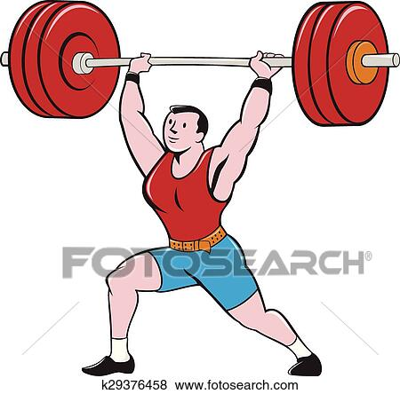 clip art of weightlifter lifting barbell isolated cartoon k29376458 rh fotosearch com weightlifting clipart transparent png weightlifting clipart transparent png