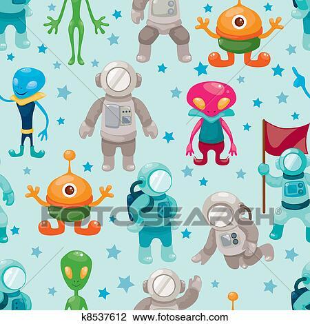宇宙人 そして Ufo Seamless パターン クリップアート切り張り