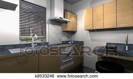 3d, moderno, cocina, diseño Colección de ilustraciones | k8533246 ...