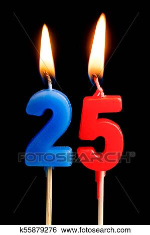 Burning Candles In The Form Of 25 Twenty Five Figures Numbers Dates For Cake Isolated On Black Background Concept Celebrating A Birthday