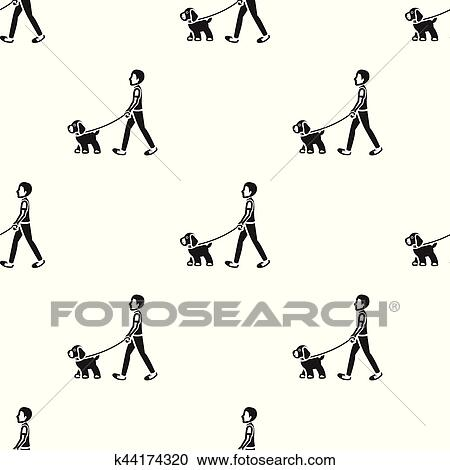 dog walk vector icon in black style for web clipart k44174320 fotosearch fotosearch