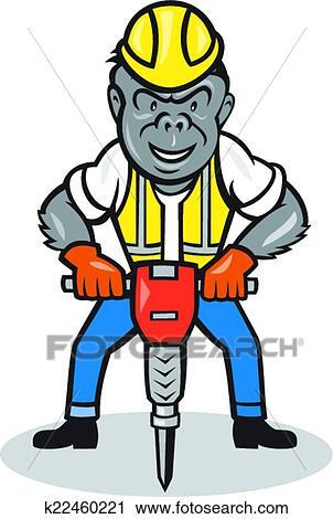 Clipart gorille construction marteau piqueur dessin - Dessin de marteau ...