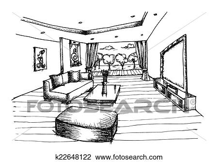 Clipart - hand, tekening, interieurdesign, voor, woonkamer k22648122 ...