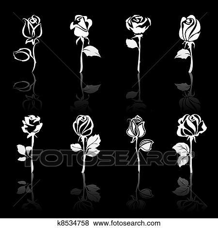 Icona Set Di Fiori Rose Con Riflessioni Su Sfondo Nero Clip
