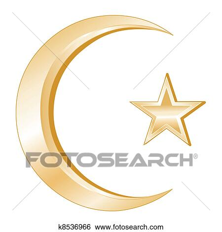 Clip Art Of Islam Symbol K8536966 Search Clipart Illustration