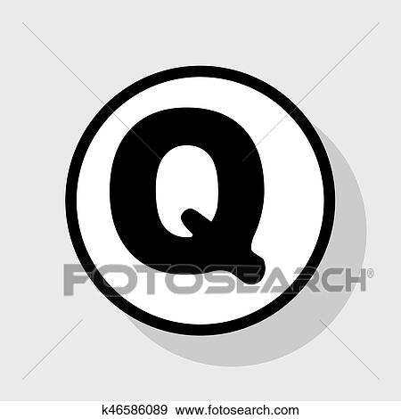 Clip Art Of Letter Q Sign Design Template Element Vector Flat