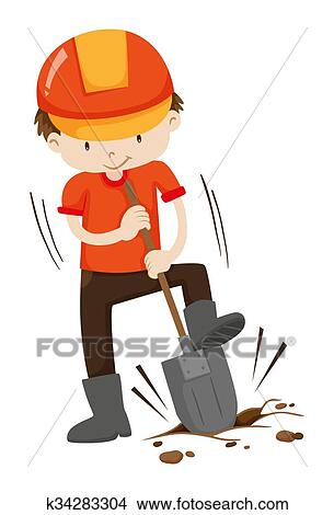 clipart of man digging hole on the ground k34283304 search clip rh fotosearch com digging clip art digging clipart black and white