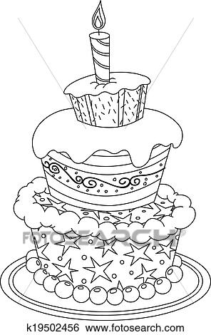 Clip Art Of Outlined Birthday Cake K19502456 Search Clipart
