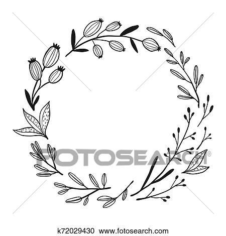Preto Branco Vetorial Ilustração Com Flores Clipart