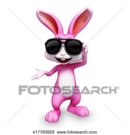 4b512fd8df789 Stock Illustration of Smart bunny with sunglass k17763929 - Search ...