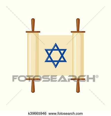 clip art of torah scroll icon in flat style k39665946 search rh fotosearch com torah clip art free torah clipart black and white