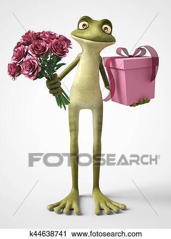 D interpretazione di romantico cartone animato rana tenendo