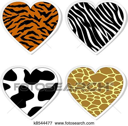 Animal print heart stickers Clip Art   k8544477   Fotosearch