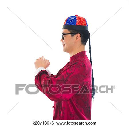 Stock images of asian male with traditional chinese new year asian male with traditional chinese new year greeting gong xi fa cai m4hsunfo