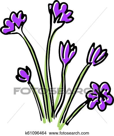 Hello Spring Colored Sketch Set First Flowers Clipart