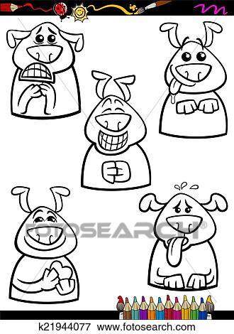 Hund Gefühl Satz Karikatur Ausmalbilder Clip Art