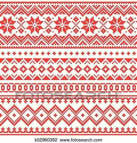 Clipart Of Lapland Vector Seamless Winter Pattern Sami People Folk