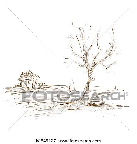 Banque d\'Illustrations - main, dessiner, croquis, paysage, arbre, et ...