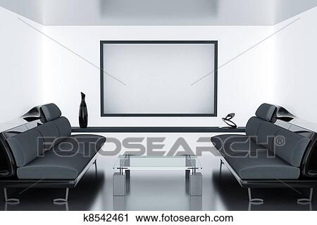 Modern luxury room with sofas and frame on wall Clip Art ...