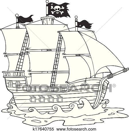 Clipart Noir Blanc Pirate Bateau K17640755 Recherchez Des Clip